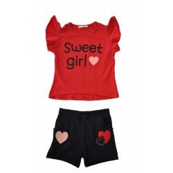 Acar 7245 Sweet Girls Baskılı Şortlu Takım 5-8 Yaş