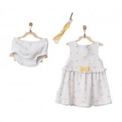 Andywawa Ac21579 Bebek Elbise Takım 3 Pcs Dress Set Happy Chıcky