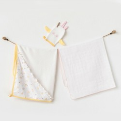 Andywawa Ac21590 Bebek Havlu Takım 3 Pcs Set Towel Muslın Set Happy Chıcky