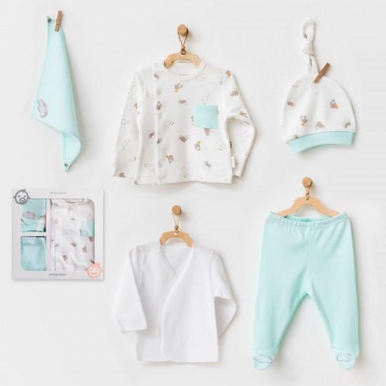 Andywawa AC21760 Bebek Hastane Çıkışı 5 Pcs Newborn Set Hıppo