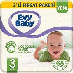 Evy Baby No:3 Midi Bebek Bezi 2 Li Fırsat Paketi 68 Li 5-9 Kg