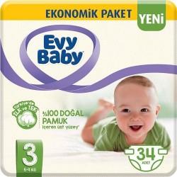 Evy Baby No:3 Midi Ekonomik Paket Bebek Bezi 34 Lü 5-9 Kg