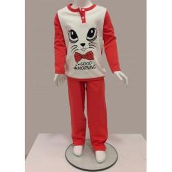 Little Bee 2003 Kedi İnterlok Pijama Takım