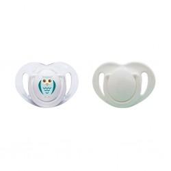 Mamajoo Silikon Ortodontik İkili Emzik Beyaz Baykuş / 0 ay +