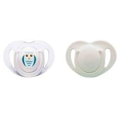 Mamajoo MMJ3084 2 Li Silikon Ortodontik Emzik 12M+ (Beyaz-Baykuş)