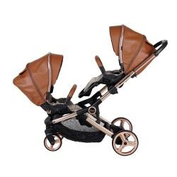 Prego 2084 İbiza Premium Travel İkiz Bebek Arabası Taba