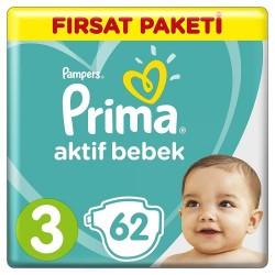 Prima Aktif Baby No:3 Midi Fırsat Paketi Bebek Bezi 6-10 Kg 62 Li