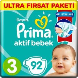 Prima Aktif Baby No:3 Midi Ultra Fırsat Paket Bebek Bezi 6-10 Kg 92 Li