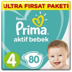 Prima Aktif Baby No:4 Maxi Bebek Bezi Ultra Fırsat Paketi 9-14 Kg 80 Li