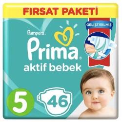 Prima Aktif Baby No:5 Junior Fırsat Paketi Bebek Bezi 11-16 Kg 46 Lı