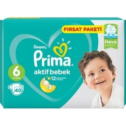 Prima Aktif Baby No:6 Junior Fırsat Paketi Bebek Bezi 13-18 Kg 40 Lı