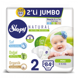 Sleepy Natural No:2 Mini 2 Li Jumbo Paket Bebek Bezi 3-6 Kg  84 Lü
