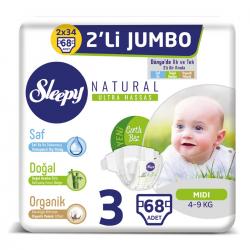 Sleepy Natural No:3 Midi 2 Li Jumbo Paket Bebek Bezii 4-9 Kg 68 Li