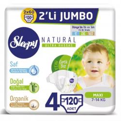 Sleepy Natural No:4 Maxi Bebek Bezi 4 Lü Jumbo 7-14 Kg 120 Li