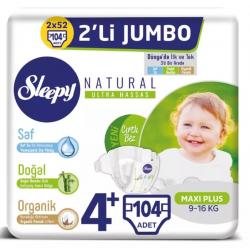 Sleepy Natural No:4+ Maxi Plus Bebek Bezi 4 Lü Jumbo 9-16 Kg 104 Lü